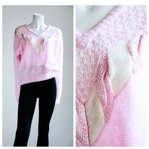 Vintage Pretty Pastel Pink V - Neck Sweater